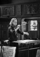 "Conductor Nicole Paiement during rehearsals for OM 22's second concert, ""Lou Harrison Gamelan Masterpieces""."