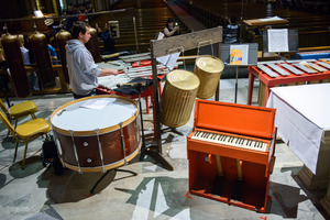 Components of Lou Harrison's American gamelan during rehearsals prior to OM 22's second and final concert.