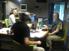 (l to r) Luke Altmann and Grahame Dudley (back) of Radio Adelaide in Australia with guest Charles Amirkhanian