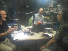 In the studios of Radio Adelaide, (l to r)  Grahame Dudley, host; Luke Altmann, engineer, and guest Charles Amirkhanian