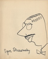 Portrait of the Russian-born composer, Igor Stravinsky drawn by George Antheil