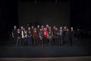 Composers and performers of the 23rd Other Minds Festival line up for a photograph prior to the first concert. (l to r) Clark Coolidge, Karen Stackpole, Michael McClure, Anne Waldman, Randall Wong, Aram Saroyan, Sarah Cahill, Charles Amirkhanian, Alvin Curran, Carol Law, Beth Anderson, Jaap Blonk, Tone Åse, Amy X Neuberg, Sheila Davies Sumner, Enzo Minarelli, Ottar Ormstad, Susan Gilmore Stone, Pamela Z, Taras Mashtalir