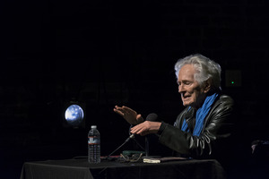 Michael McClure reading during the first concert of OM 23
