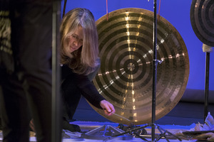 Percussionist Karen Stackpole performing during the first concert of OM 23